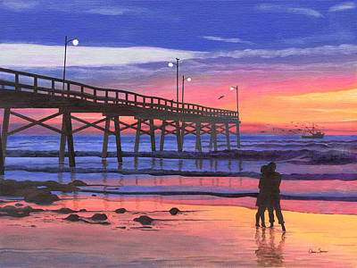 Topsail Island Painting - Dusk At The Pier by Christopher Spicer