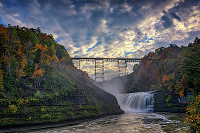 Photograph - Dusk At The Upper Falls by Rick Berk