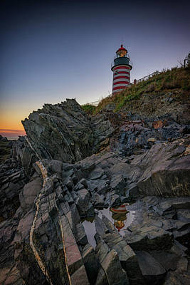 West Quoddy Head Lighthouse Photograph - Dusk At West Quoddy Head Lighthouse by Rick Berk
