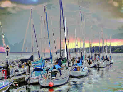 Digital Art - Dusk At White Rock by Leslie Montgomery
