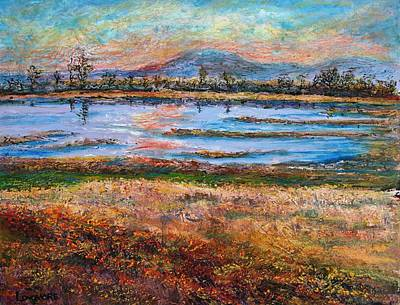 Dusk At Wildlife Refuge Print by Sandra Longmore