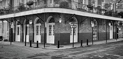 Photograph - Dusk - Corner Of Barracks And Chartres Streets - French Quarter - B/w  by Greg Jackson
