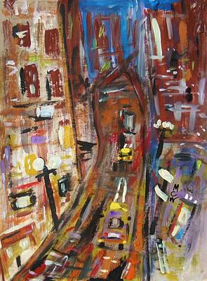 Abstract Expressionism Drawing - Dusk In The City by Mary Carol Williams
