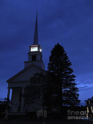 Photograph - Dusk Is Lit - Stowe Community Church by Felipe Adan Lerma