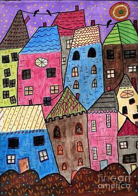 Folk Art Mixed Media - Dusk by Marlena Colino Leach