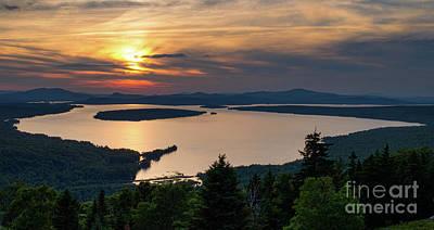 Print featuring the photograph Dusk, Mooselookmeguntic Lake, Rangeley, Maine -63362-63364 by John Bald
