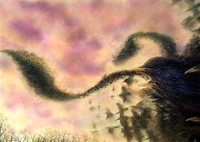 Starlings Mixed Media - Dusk Murmuration by Philip Harvey