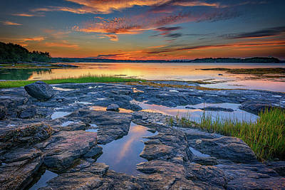Atlantic Ocean Photograph - Dusk On Littlejohn Island by Rick Berk