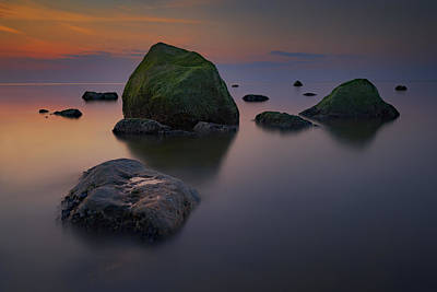 Dusk On Long Island Sound Art Print by Rick Berk