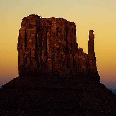Photograph - Dusk On The Monument Valley Mitten - Arizona - Utah by Gregory Ballos