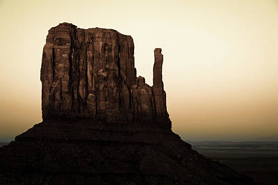 Photograph - Dusk On The Monument Valley Mitten - Sepia by Gregory Ballos