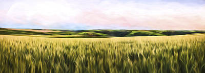 Rural Scenes Digital Art - Dusk On The Palouse IIi by Jon Glaser