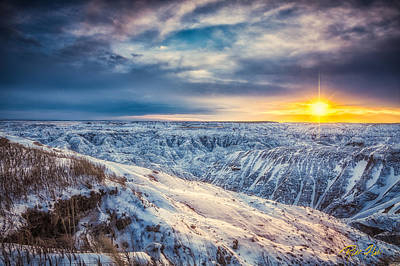 Photograph - Dusk On The Snowy Badlands by Rikk Flohr