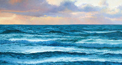 Beaches Painting - Dusk Over The Ocean by Jan Matson