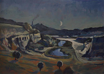 Mine Pit Painting - Dusk Over The Sint Pietersberg by Nop Briex