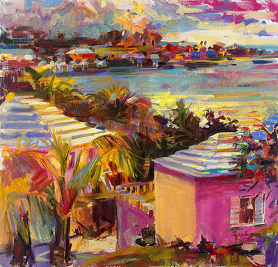 Caribbean House Painting - Dusk Reflections Bermuda  by Peter Graham
