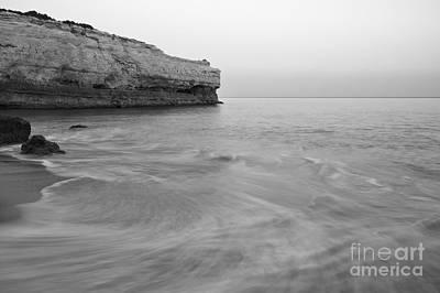 Dusk Waves In Albandeira Beach. Monochrome Art Print