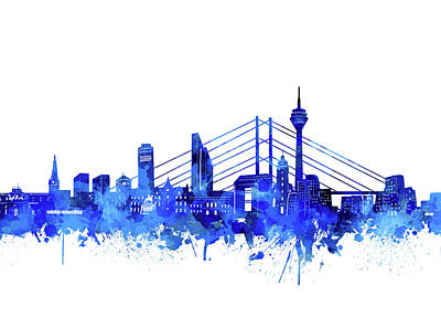 Digital Art - Dusseldorf City Skyline Blue by Bekim Art