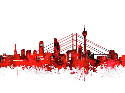Digital Art - Dusseldorf City Skyline Red by Bekim Art