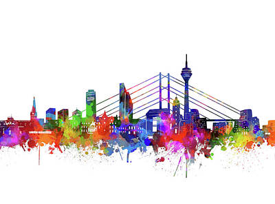 Abstract Skyline Royalty-Free and Rights-Managed Images - Dusseldorf City Skyline Watercolor 2 by Bekim M