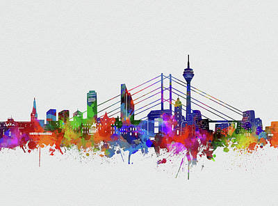 Abstract Skyline Royalty-Free and Rights-Managed Images - Dusseldorf City Skyline Watercolor by Bekim M