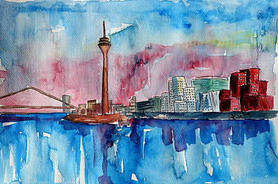 Skyline Painting - Dusseldorf Germany Media Harbour  by M Bleichner