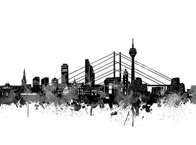 Digital Art - Dusseldorf Skyline Black And White by Bekim Art