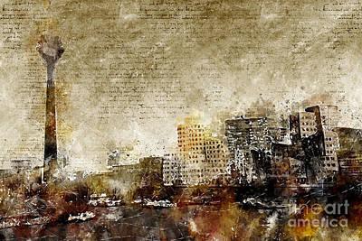 Digital Art - Dusseldorf Skyline by Michael Kuelbel