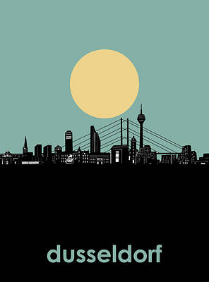 Digital Art - Dusseldorf Skyline Minimalism by Bekim Art
