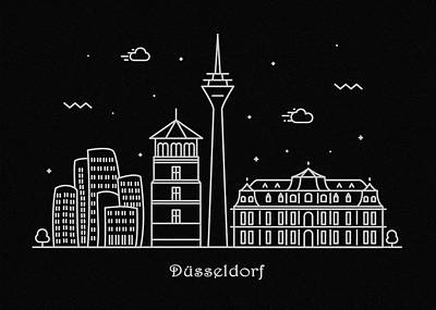 Abstract Landscape Drawing - Dusseldorf Skyline Travel Poster by Inspirowl Design