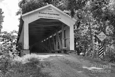 Photograph - Dust In The Air At Conley's Ford Bridge Black And White by Adam Jewell