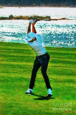 Photograph - Dustin Johnson Top Of His Swing by Blake Richards