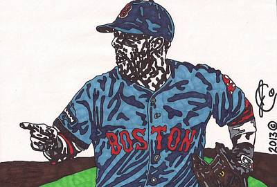 Baseball Drawing - Dustin Pedroia 2 by Jeremiah Colley