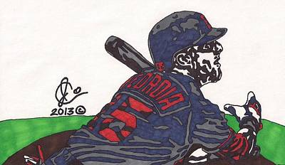 Mlb Boston Red Sox Drawing - Dustin Pedroia 3 by Jeremiah Colley