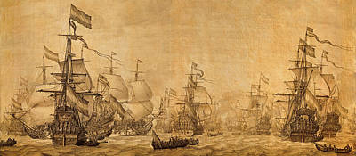 Dutch Battleships Willem Van De Velde 1672 On Parchment Art Print