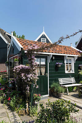 Photograph - Dutch Country Charm - A Beautiful Little Cottage With Flowers by Georgia Mizuleva