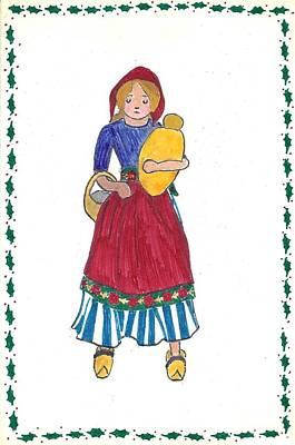 Drawing - Dutch Doll Christmas Card Done At Age 16 by Dawn Senior-Trask