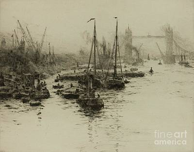 Drypoint Painting - Dutch Eel Boats In The Pool Of London by MotionAge Designs