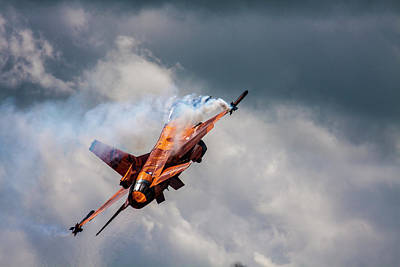 Photograph - Dutch F16 Take Off At Waddington by Ken Brannen