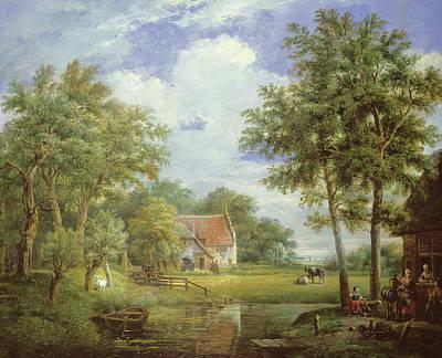 Dutch Farm Scene Art Print by Carel Lodewijk Hansen