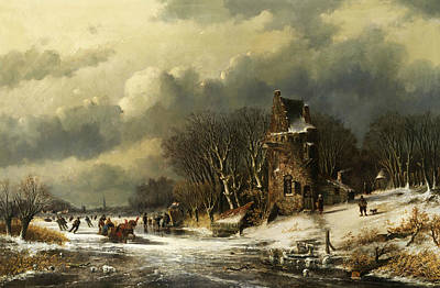 Landscape With Figure Painting - Dutch Landscape With Figures by Andreas Schelfhout