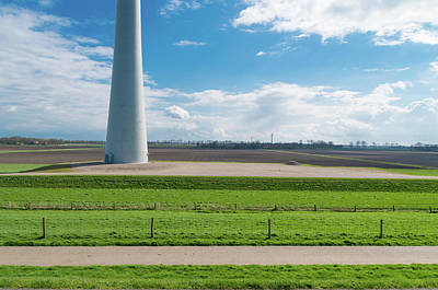 Flevoland Photograph - Dutch Landscape With Windmill by Hans Engbers