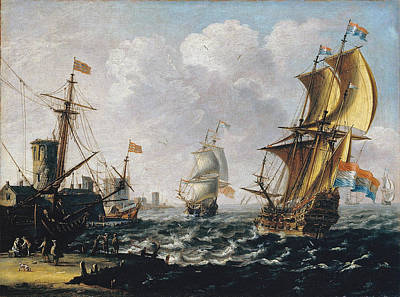 Painting - Dutch Levanters In A Rough Sea by Laureys A Castro