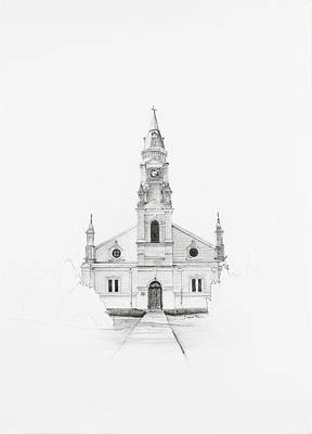 Drawing - Dutch Reformed Church Pearston by Dawid Theron