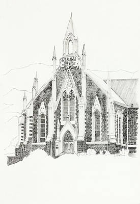Drawing - Dutch Reformed Church Piketberg by Dawid Theron