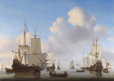 Dutch Ships In A Calm Art Print by War Is Hell Store