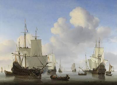 Painting - Dutch Ships In A Calm   Willem Van De Velde II C 1665 by R Muirhead Art