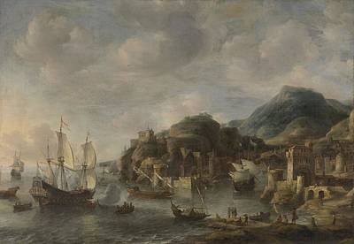 Dutch Painting - Dutch Ships In A Foreign Port, by Jan Abrahamsz Beerstraten