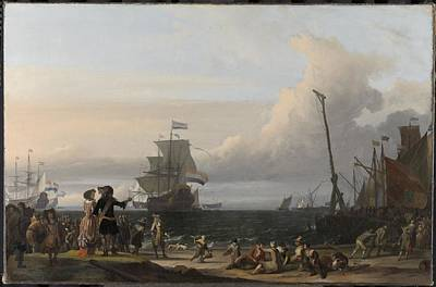 Painting - Dutch Ships In The Roads Of Texel  In The Middle The  Gouden Leeuw  The Flagship Of Cornelis Tromp   by R Muirhead Art