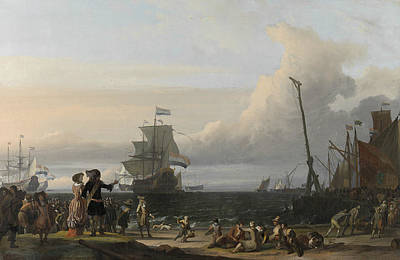 Painting - Dutch Ships In The Roadstead Of Texel, 1671 by Ludolf Bakhuizen